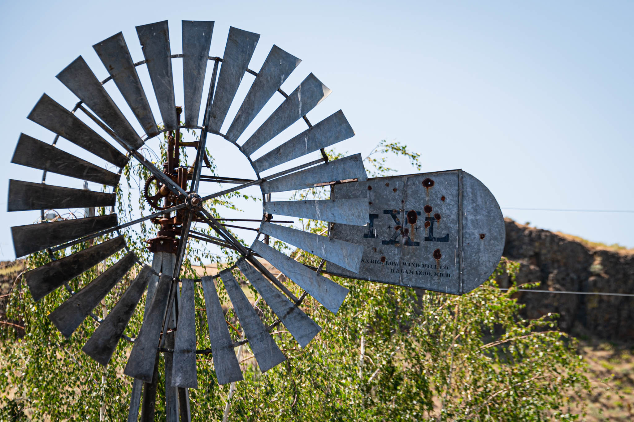 A windmill is idle in Washtucna, Washington.